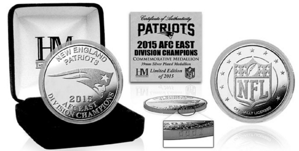 New England Patriots 2015 AFC East Division Champions Silver Mint Coin