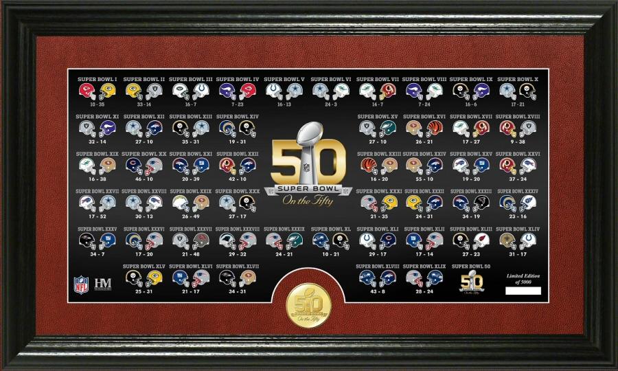 Super Bowl 50th Anniversary Bronze Coin Pano Photo Mint