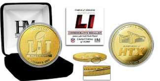Super Bowl 51 Logo Gold Plated Coin